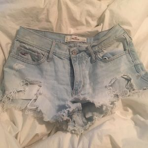 Hollister high waist ripped jean shorts